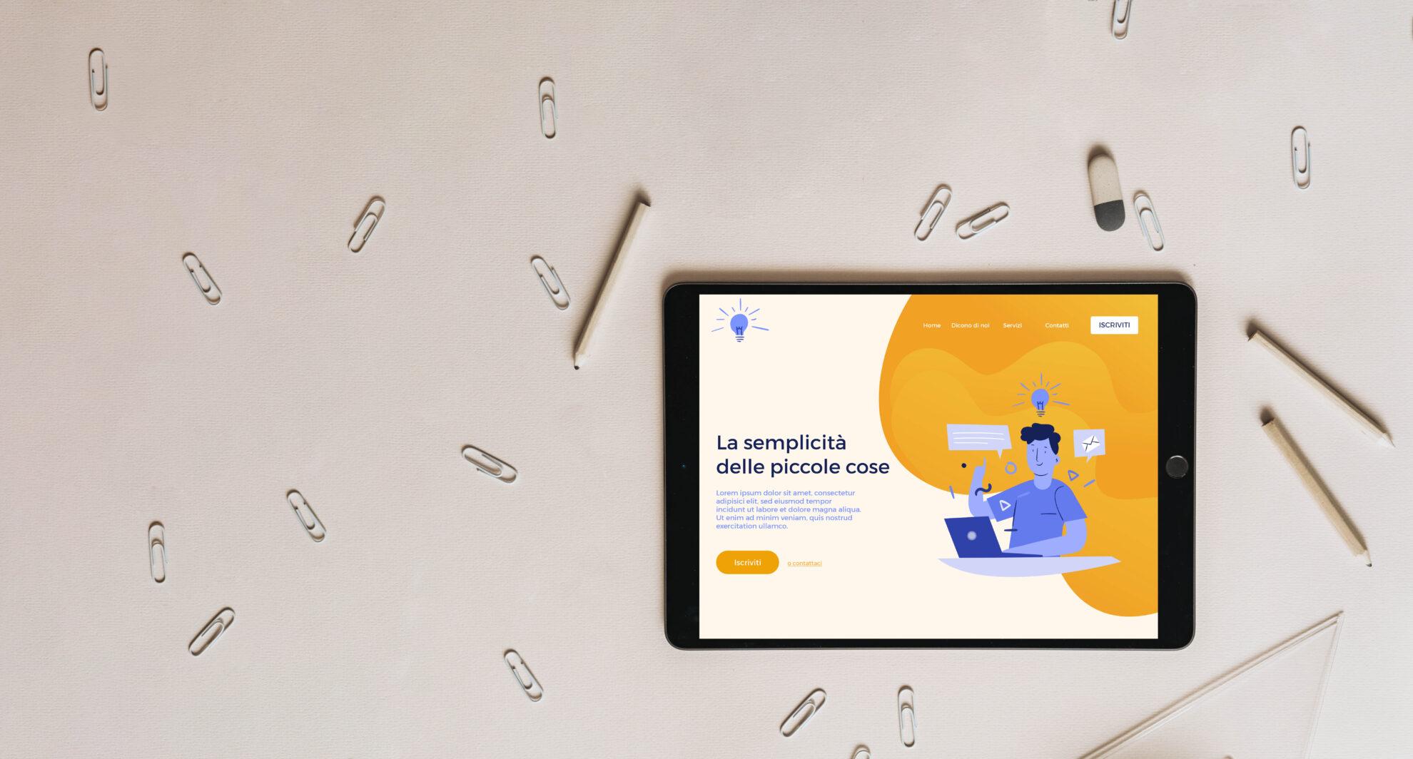 Esempio Landing Page con visualizzazione da Ipad