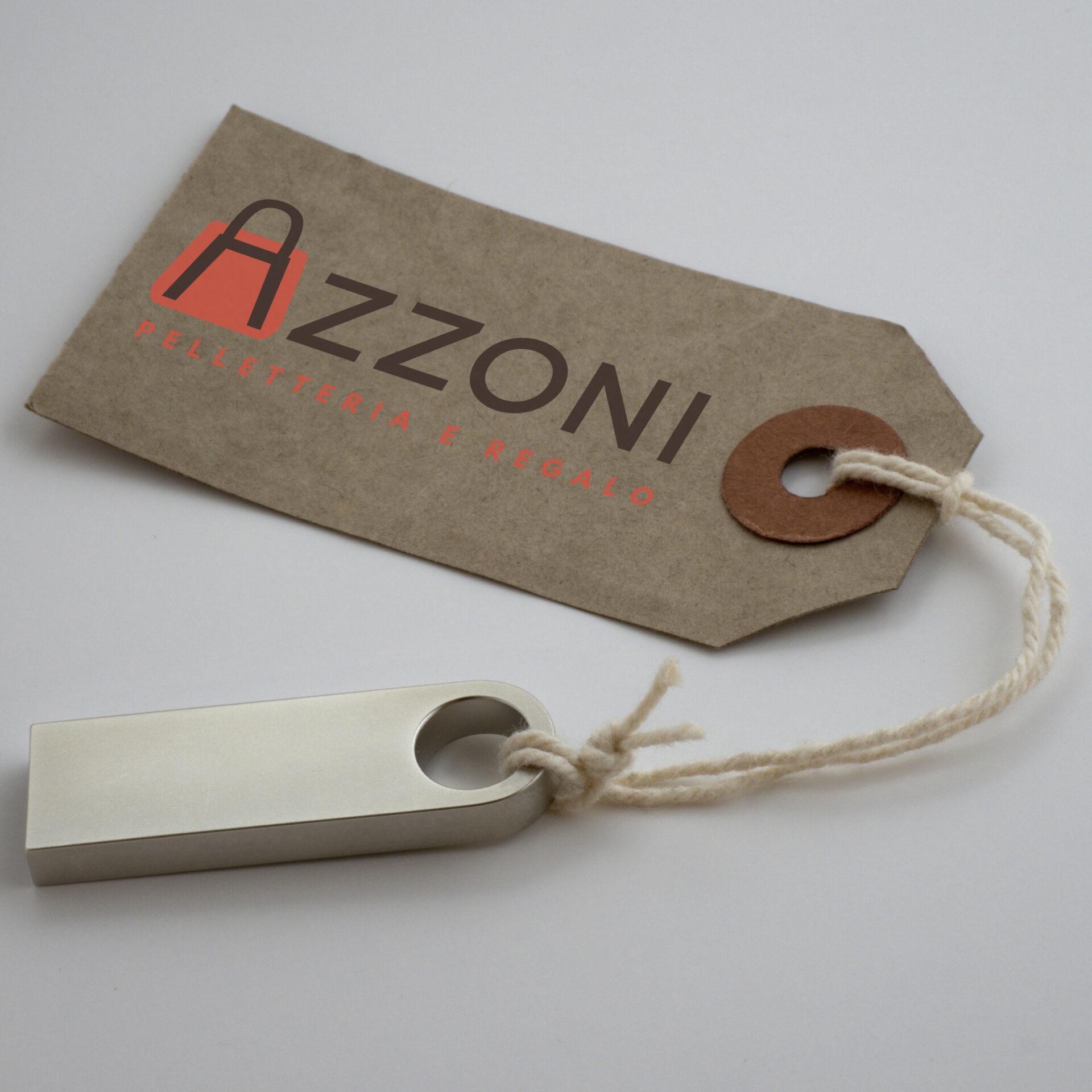 Etichetta logo Azzoni Pelletteria