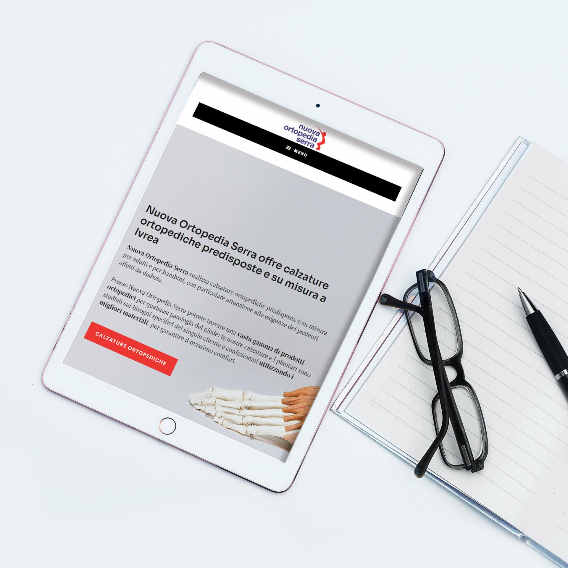 Sito web Nuova Ortopedia Serra visualizzazione da Ipad